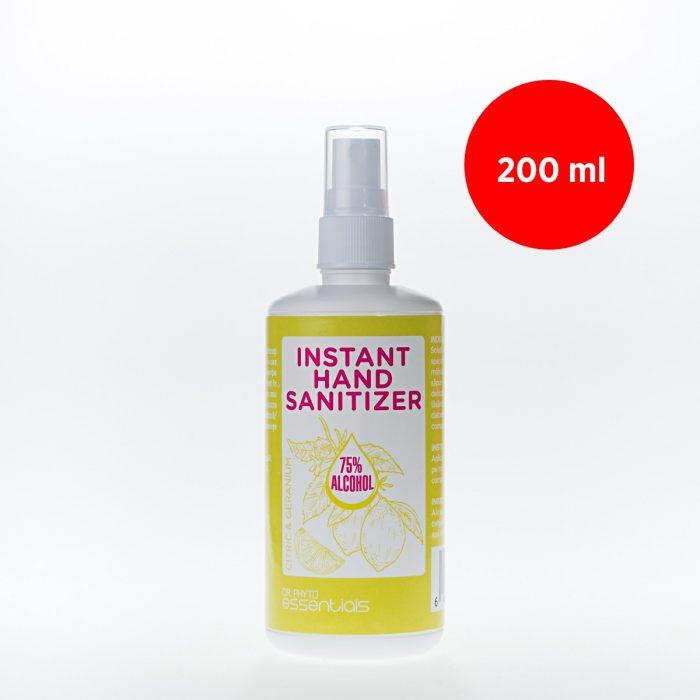 Igienizant pentru mâini cu alcool și uleiuri esențiale de citrice și geranium