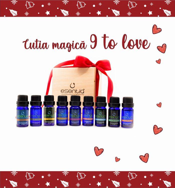 Cutia 9 to love este cadoul perfect din gama Premium, cadoul care cuprinde 9 uleiuri esentiale deosebite.